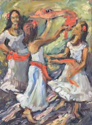 Three Girls Dancing The Tarantella